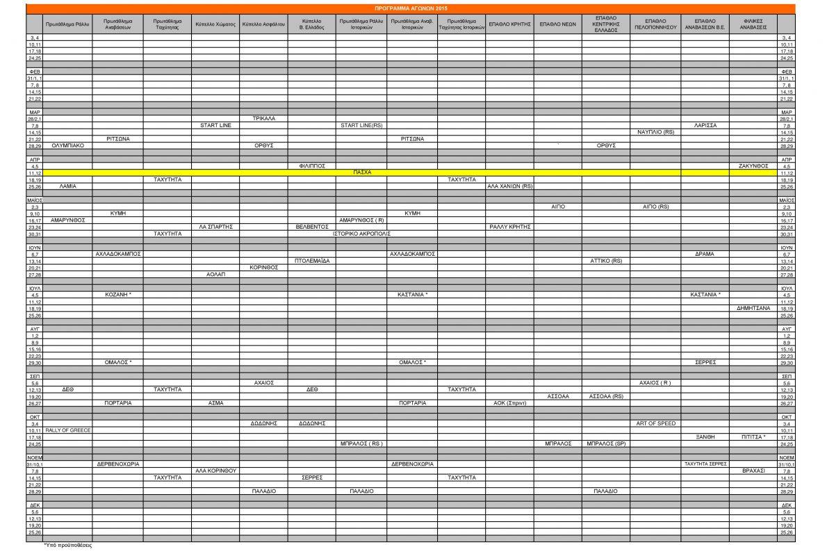 Πρόγραμμα αγώνων αυτοκινήτου 2015   ΟΜΑΕ
