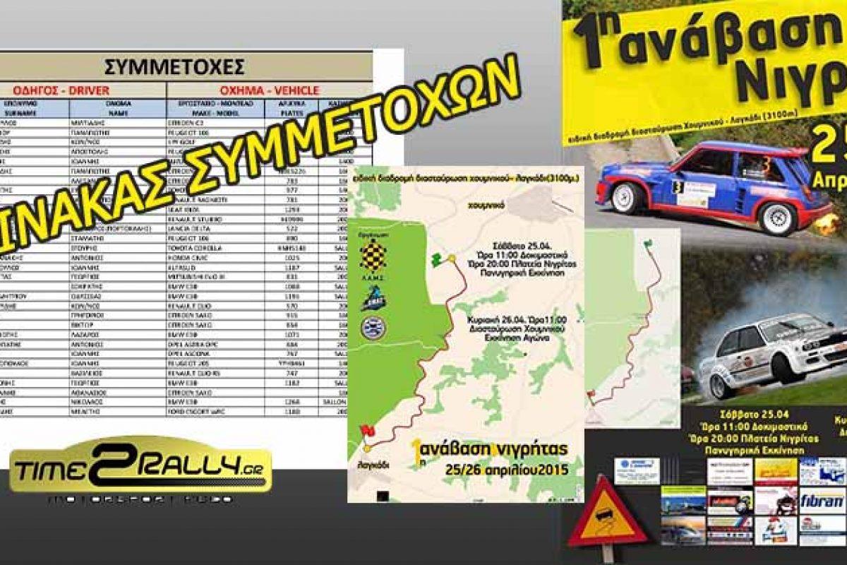 Συμμετοχές Ανάβασης Β.Ελλάδας Νιγρίτας Σερρών 25-26 Απριλίου 2015