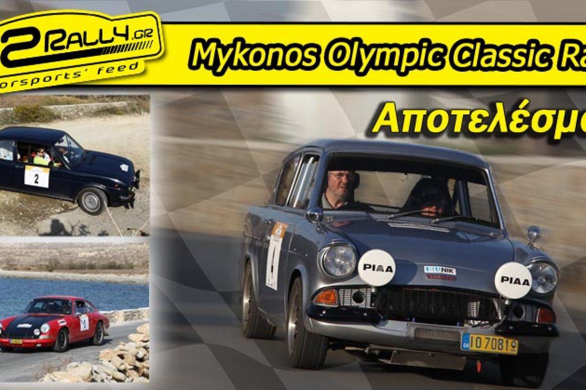 Mykonos Olympic Classic Rally: Αποτελέσματα