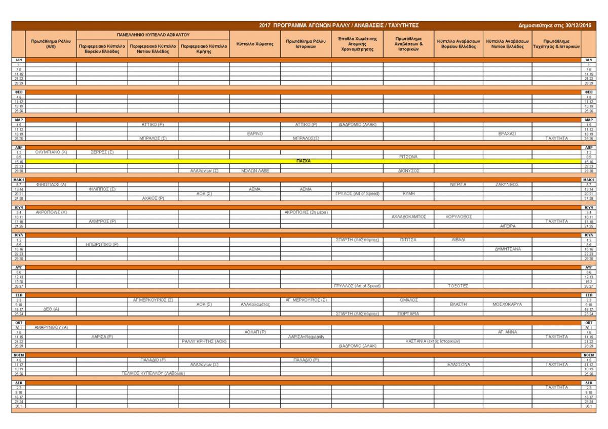 Προκήρυξη & Πρόγραμμα Αγώνων 2017